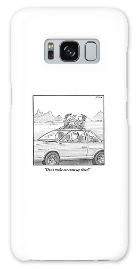 Children Fighting Galaxy Case featuring the drawing A Man Drives A Car by Harry Bliss
