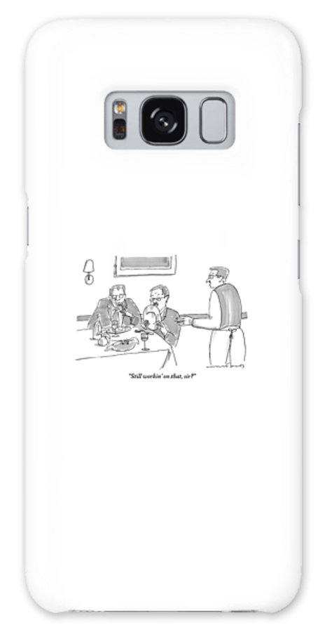 Restaurants Galaxy S8 Case featuring the drawing A Man Licks His Plate Clean At A Restaurant by Michael Crawford