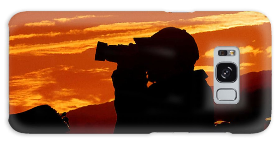 Sunset Galaxy S8 Case featuring the photograph A Photographer Enjoying His Work by Kathy Baccari