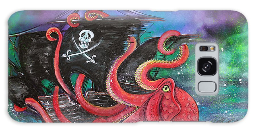 Fantasy Galaxy S8 Case featuring the painting A Pirates Tale - Attack Of The Mutant Octopus by Laura Barbosa