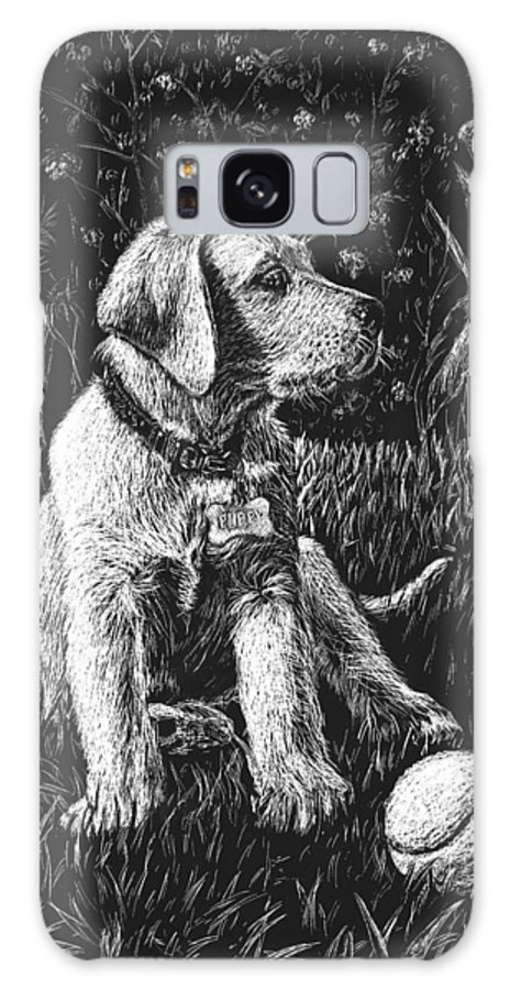 Puppy Galaxy Case featuring the drawing A Puppy With The Ball by Irina Sztukowski