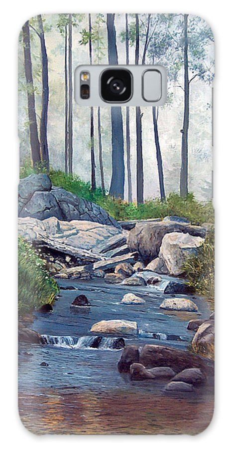 Landscape Galaxy S8 Case featuring the painting A Quiet Stream In Moodus by John Fitzsimmons