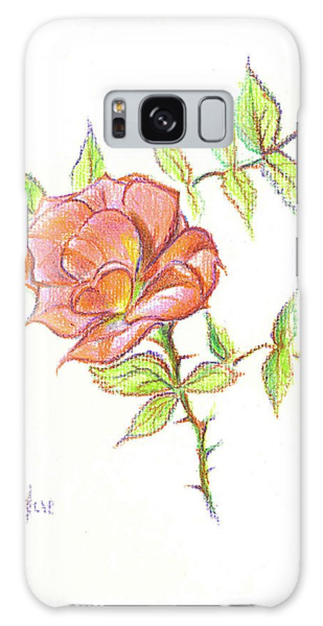 A Rose In Brigadoon Galaxy S8 Case featuring the drawing A Rose In Brigadoon by Kip DeVore