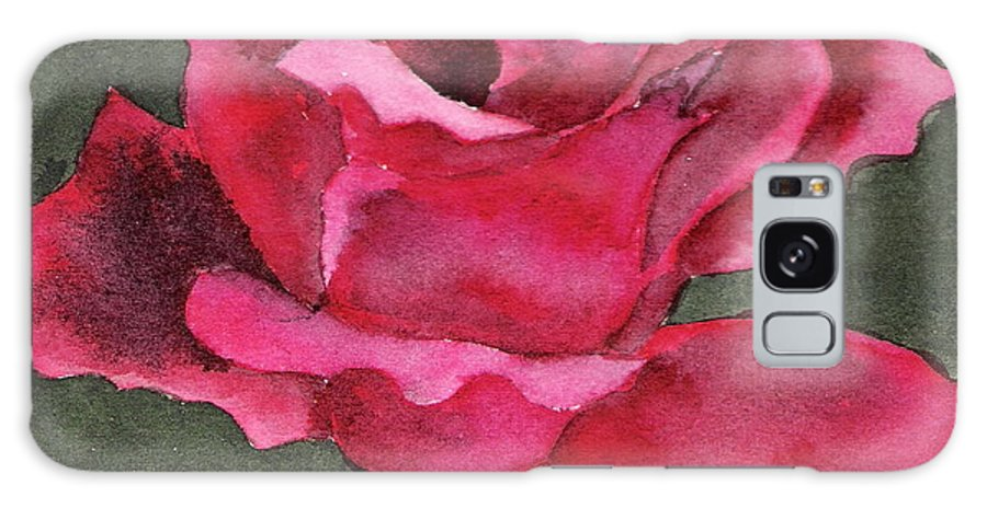 Rose Flower Red Painting Watercolor Still Life Galaxy Case featuring the painting A Rose Is A Rose by Marsha Woods
