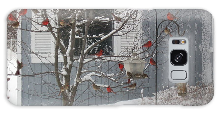 Nature Galaxy S8 Case featuring the photograph A Sea Of Cardinals At The Feeder by Dan De Ment