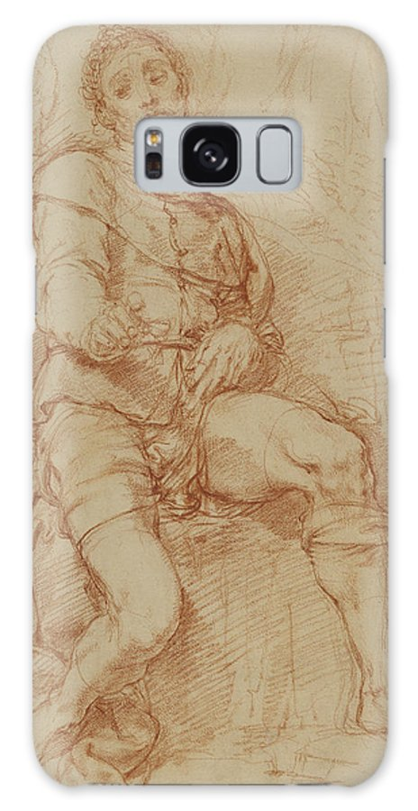 Seated Galaxy S8 Case featuring the drawing A Seated Man Bernardino Poccetti Barbatelli by Litz Collection