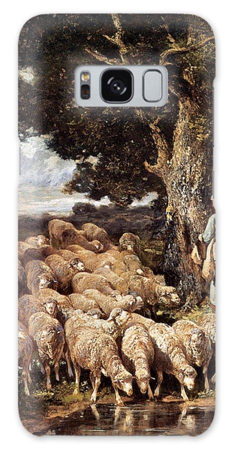 A Shepherdess With Her Flock Near A Stream Galaxy S8 Case featuring the digital art A Shepherdess With Her Flock Near A Stream by Charles Emile Jacque