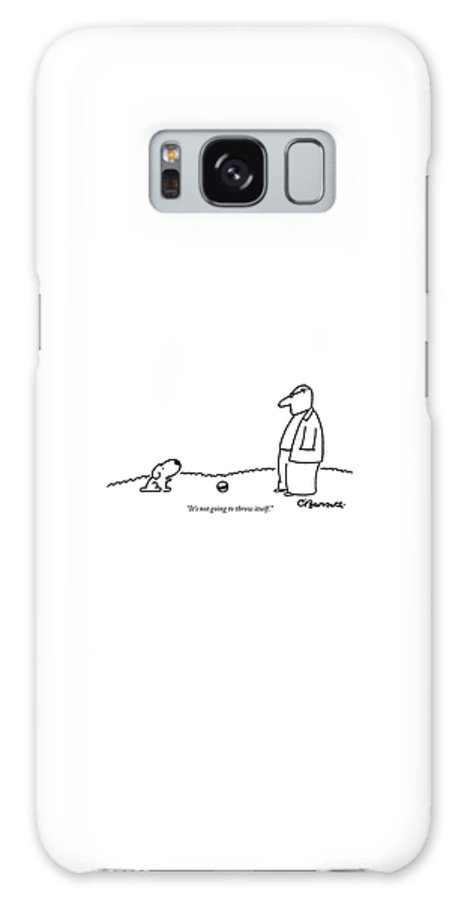 Balls Galaxy Case featuring the drawing A Small Dog Sits A Short Distance Away by Charles Barsotti