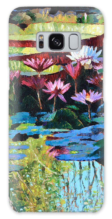 Garden Pond Galaxy Case featuring the painting A Splash of Sunlight by John Lautermilch