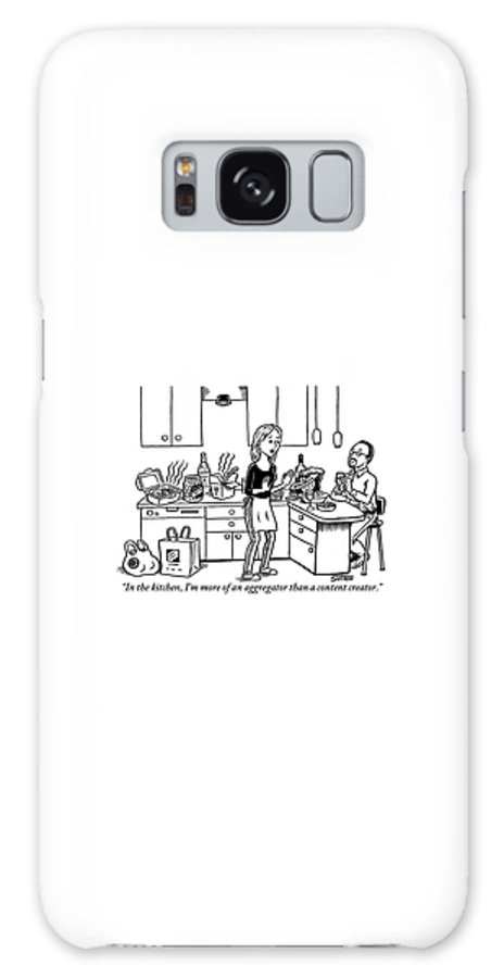 Kitchen Galaxy S8 Case featuring the drawing A Stressed-out Looking Woman Wearing An Apron by Ward Sutton