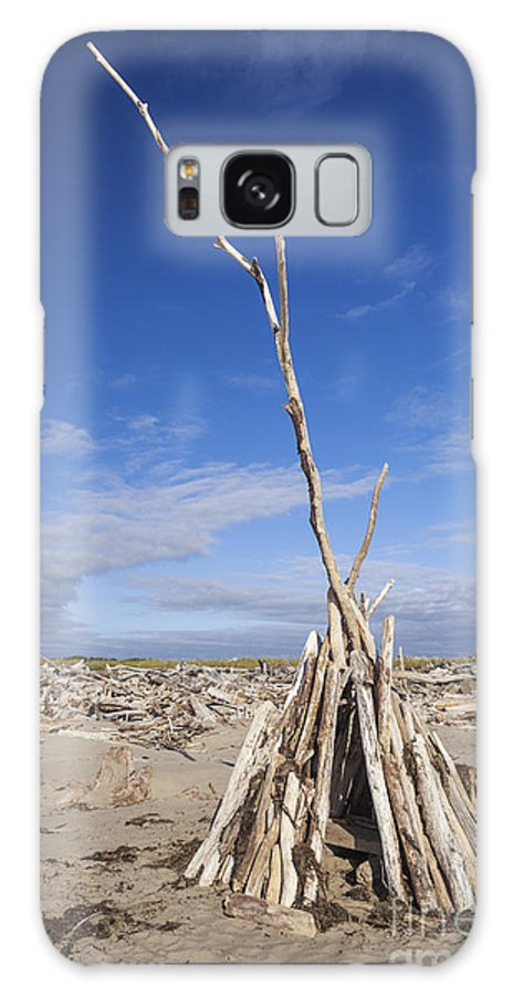 Bandon Galaxy S8 Case featuring the photograph A Teepee Madeup Of Driftwood At Bandon Beach by Bryan Mullennix
