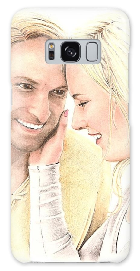 Man Galaxy S8 Case featuring the drawing A Tender Moment by Manon Massari