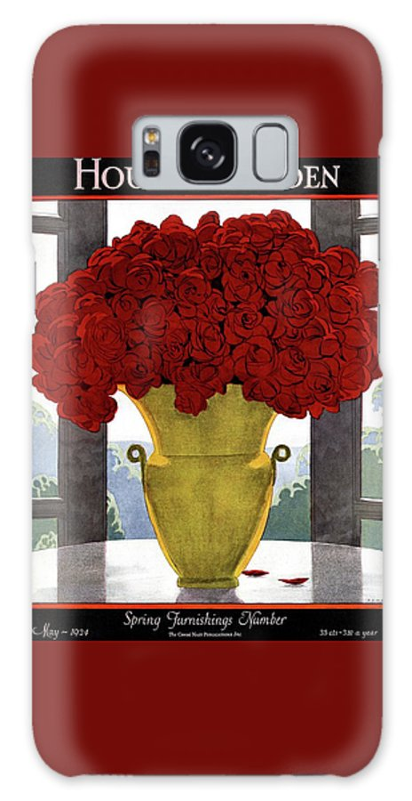 House And Garden Galaxy S8 Case featuring the photograph A Vase With Red Roses by Andre E Marty