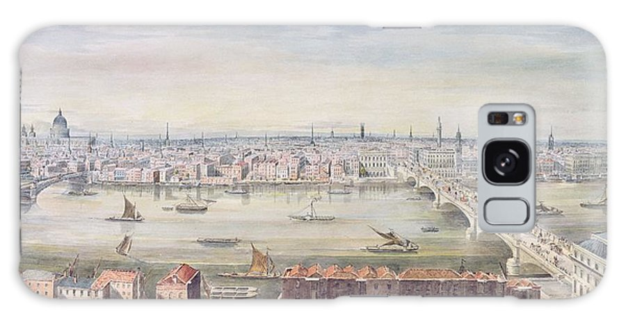 Panoramic Galaxy S8 Case featuring the painting A View Of London From St Pauls To The Custom House, 1837 by Gideon Yates