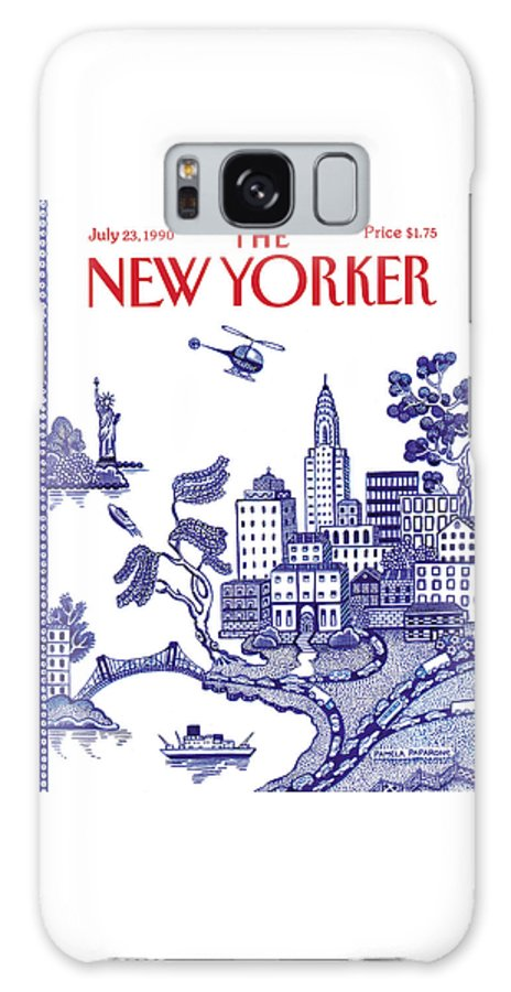 New York City Galaxy Case featuring the painting A View Of New York City by Pamela Paparone