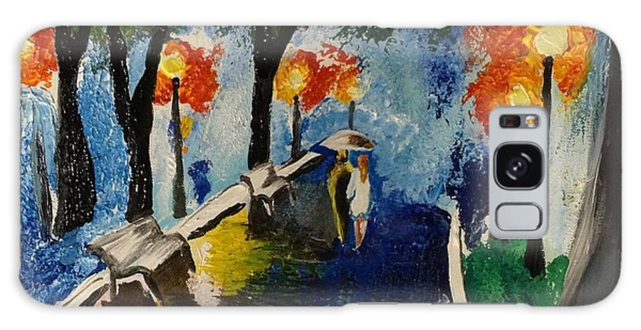A Galaxy S8 Case featuring the painting A Walk In The Rain by Shelby Rawlusyk