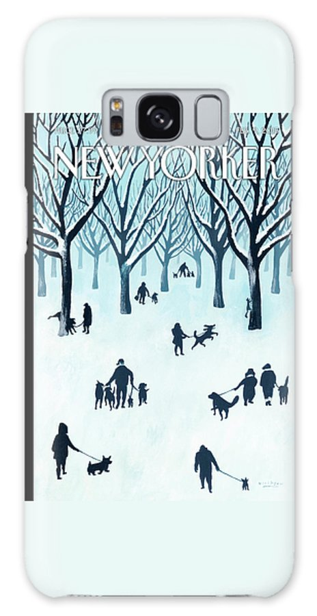 Snow Galaxy Case featuring the painting A Walk In The Snow by Mark Ulriksen