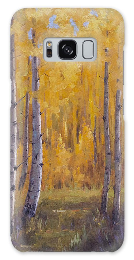 Landscape Galaxy S8 Case featuring the painting A Walk In The Woods by Bonnie Bowne