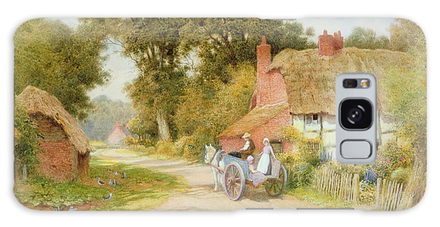Horse And Cart; Thatched Cottage; Thatch; Half-timbered; Country Lane; Rural; Duck Pond; Ducks; Victorian; Countryside Galaxy S8 Case featuring the painting A Warwickshire Lane by Arthur Claude Strachan