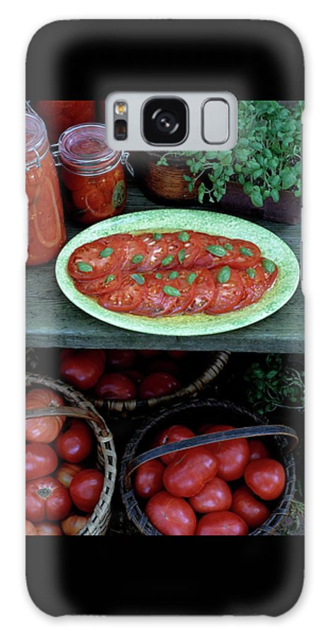 Food Galaxy S8 Case featuring the photograph A Wine & Food Cover Of Tomatoes by Susan Wood
