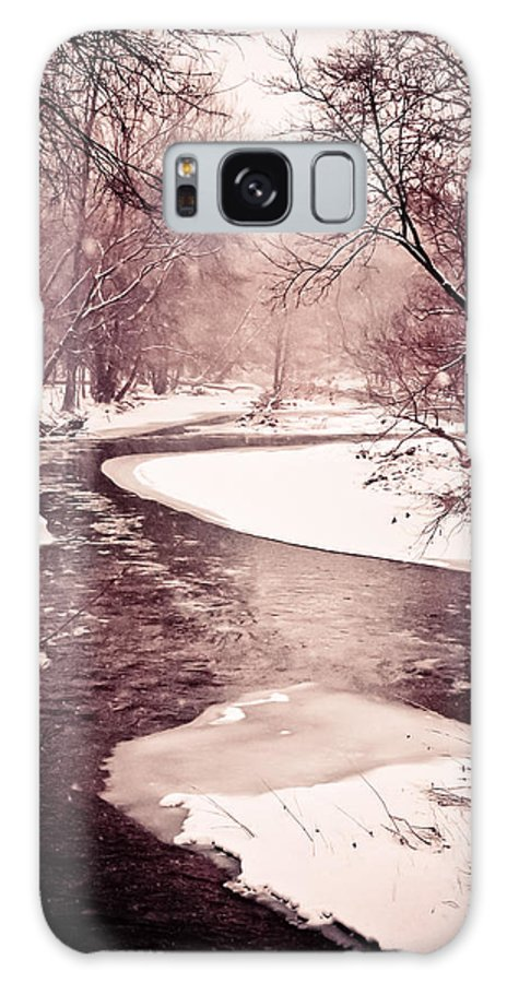 Brown Galaxy S8 Case featuring the photograph A Winter Stream by Sarah Cafaro