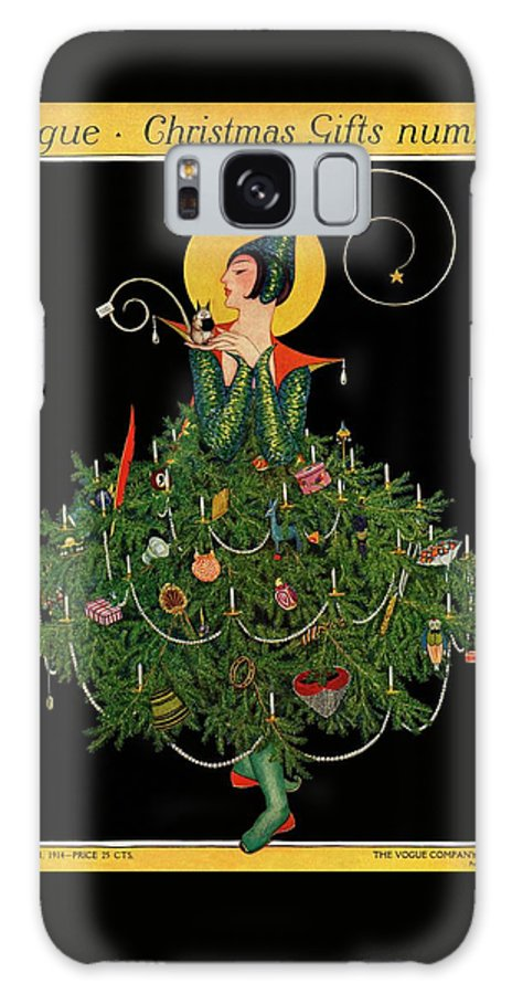 Illustration Galaxy Case featuring the painting A Woman Dressed As A Christmas Tree by Artist Unknown
