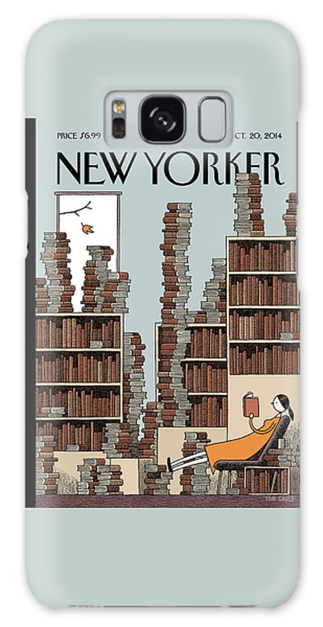 Books Galaxy Case featuring the painting Fall Library by Tom Gauld