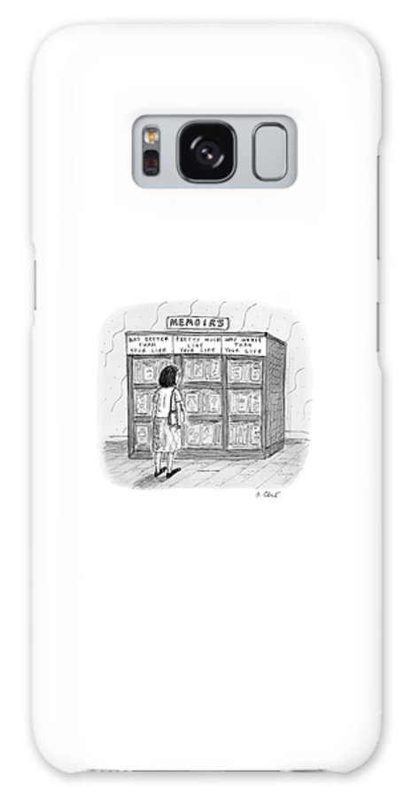 Bookstores Galaxy Case featuring the drawing A Woman Stands In Front Of A Bookshelf Of Memoirs by Roz Chast