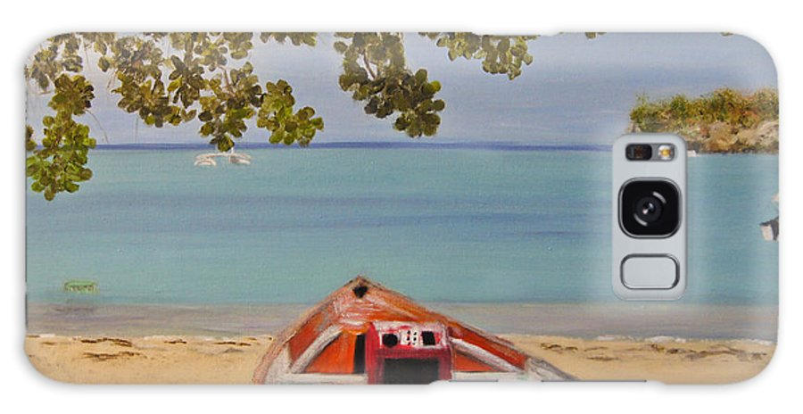 Antigua Guatemala Galaxy S8 Case featuring the painting Abandoned Boat Seascape by Debra Crank