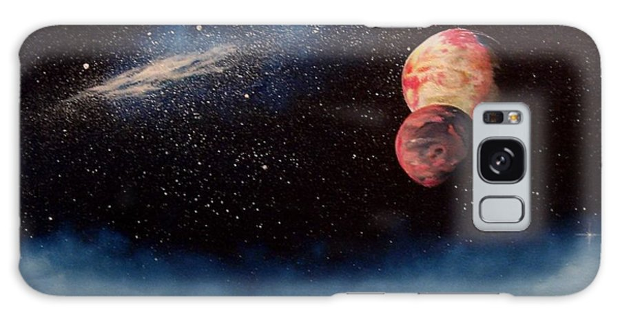 Landscape Galaxy Case featuring the painting Above Alien Clouds by Murphy Elliott