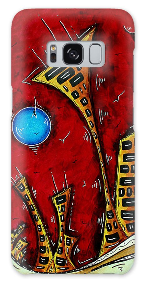 Abstract Galaxy S8 Case featuring the painting Abstract City Cityscape Art Original Painting Stand Tall By Madart by Megan Duncanson