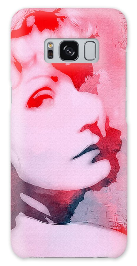 Greta Garbo Famous Star Actress Swedish Vintage Expressionism Face Portrait Painting Surreal Look Woman Beauty Female Abstract Galaxy S8 Case featuring the painting Abstract Garbo by Steve K