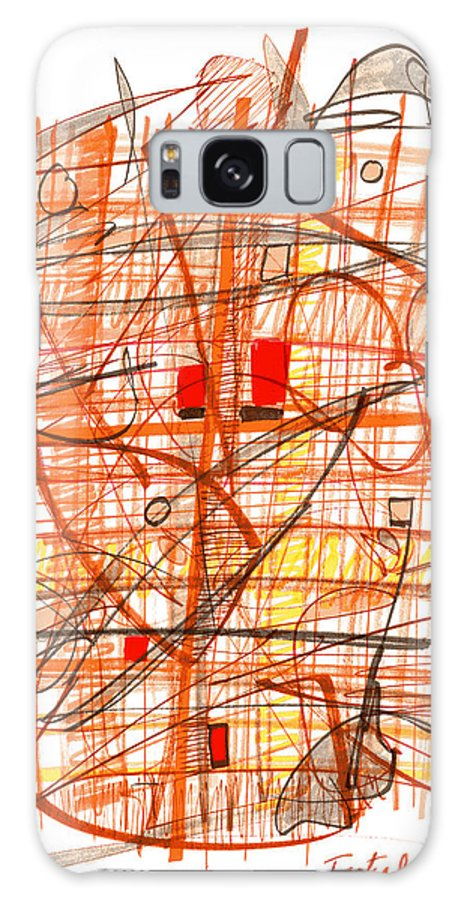 Abstract Galaxy S8 Case featuring the drawing Abstract Pen Drawing Sixty-one by Lynne Taetzsch
