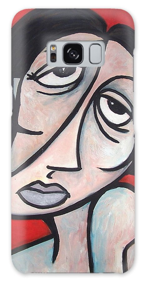 Portrait Galaxy Case featuring the painting Abstract by Thomas Valentine