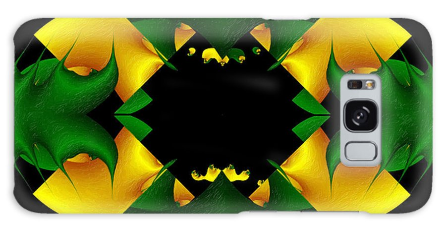 Abstracta-green-gold A Galaxy S8 Case featuring the painting Abstracta-green-gold A by Dr Roy Schneemann