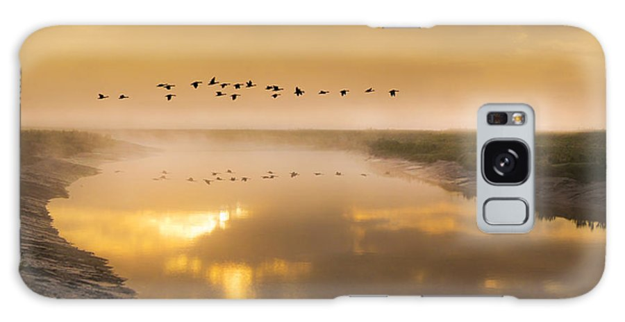 Water Galaxy S8 Case featuring the photograph Geese Over The River by Adrian Campfield