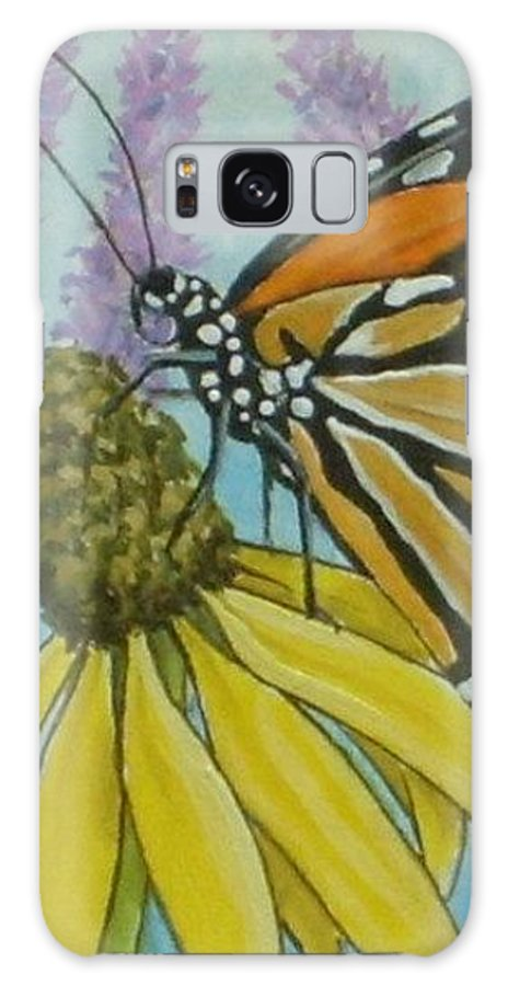Aceo Galaxy S8 Case featuring the painting Aceo Monarch On Wild Grey Headed Coneflower by Debrah Nelson
