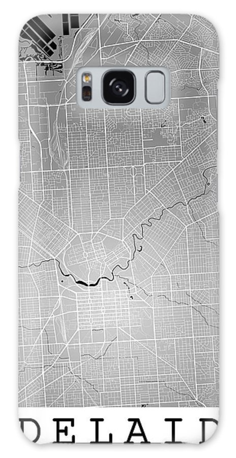 Road Map Galaxy S8 Case featuring the digital art Adelaide Street Map - Adelaide Australia Road Map Art On Colored by Jurq Studio