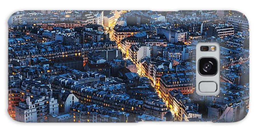 Paris Galaxy S8 Case featuring the photograph Aerial Night View Of Paris by Radu Razvan