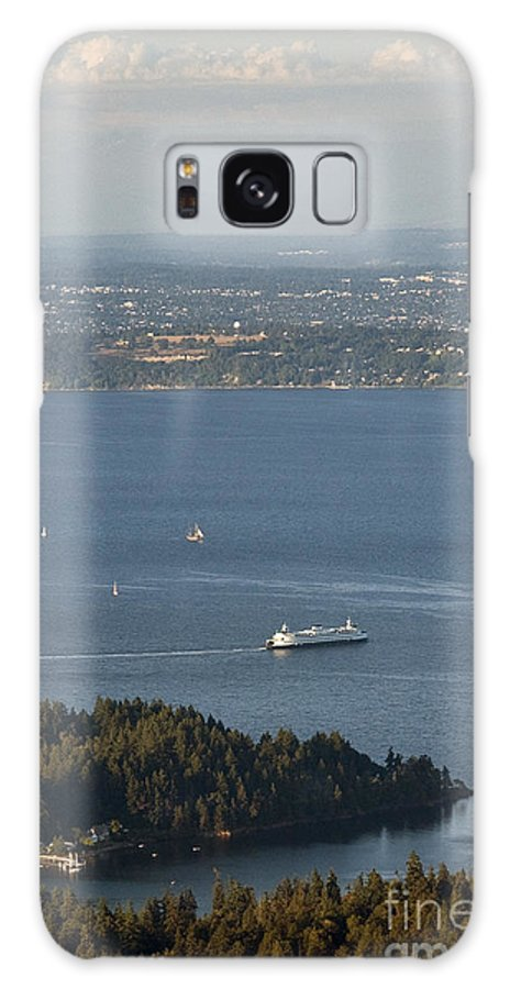 Bainbridge Island Galaxy S8 Case featuring the photograph Aerial View Of Ferry Boats On Puget Sound Leaving Bainbridge Isl by Jim Corwin