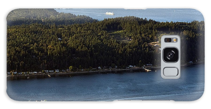 North America Galaxy S8 Case featuring the photograph Aerial View Of Ferry Boats On Puget Sound One Leaving Bainbridge by Jim Corwin