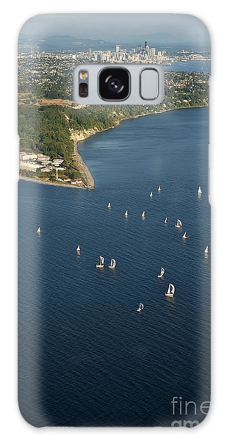 Discovery Park Galaxy S8 Case featuring the photograph Aerial View Of Seattle Skyline With Sailboat Race On Puget Sound by Jim Corwin