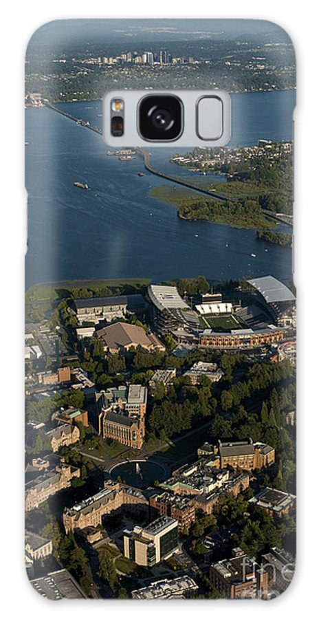 Bellevue Skyline Galaxy S8 Case featuring the photograph Aerial View Of The New Husky Stadium by Jim Corwin