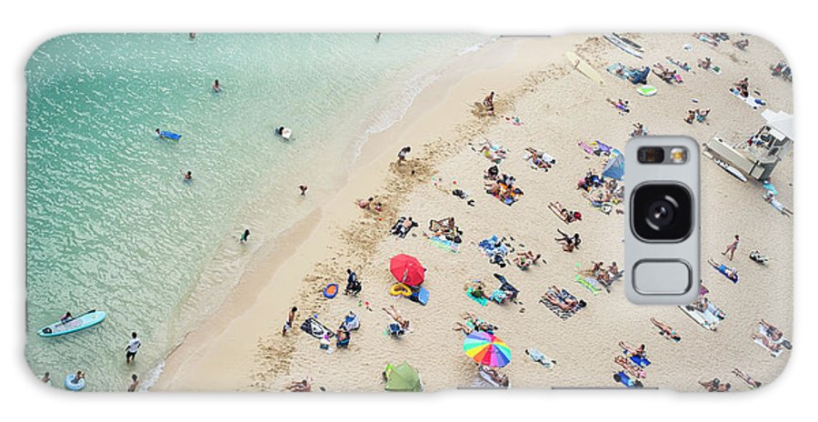 Honolulu Galaxy Case featuring the photograph Aerial View Of Tourists On Beach by Alberto Guglielmi
