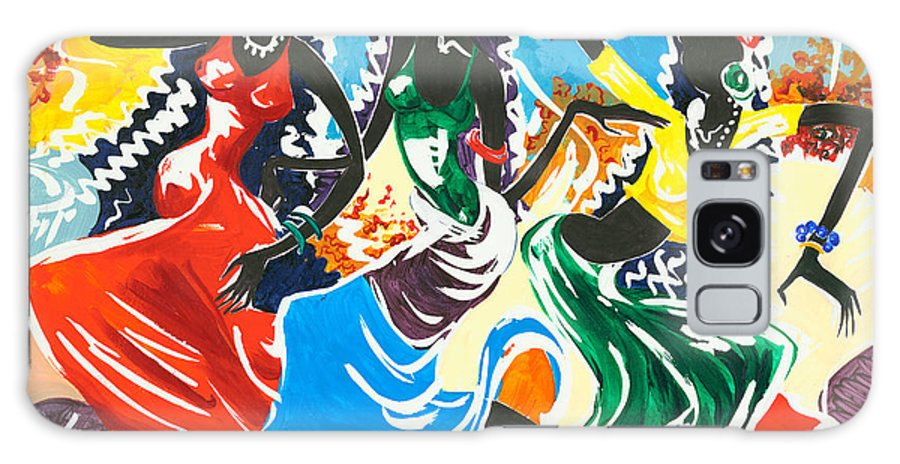 Canvas Prints Galaxy S8 Case featuring the painting African Dancers No. 2 by Elisabeta Hermann