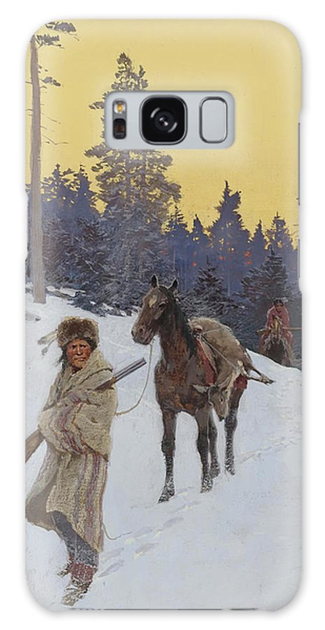 Native American Galaxy S8 Case featuring the painting After The Hunt by Mountain Dreams