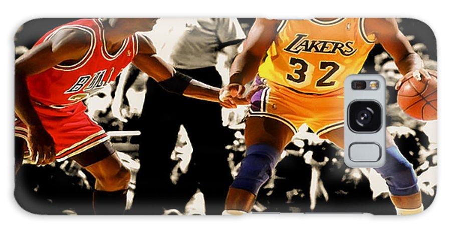 Michael Jordan Galaxy Case featuring the digital art Air Jordan On Magic by Brian Reaves