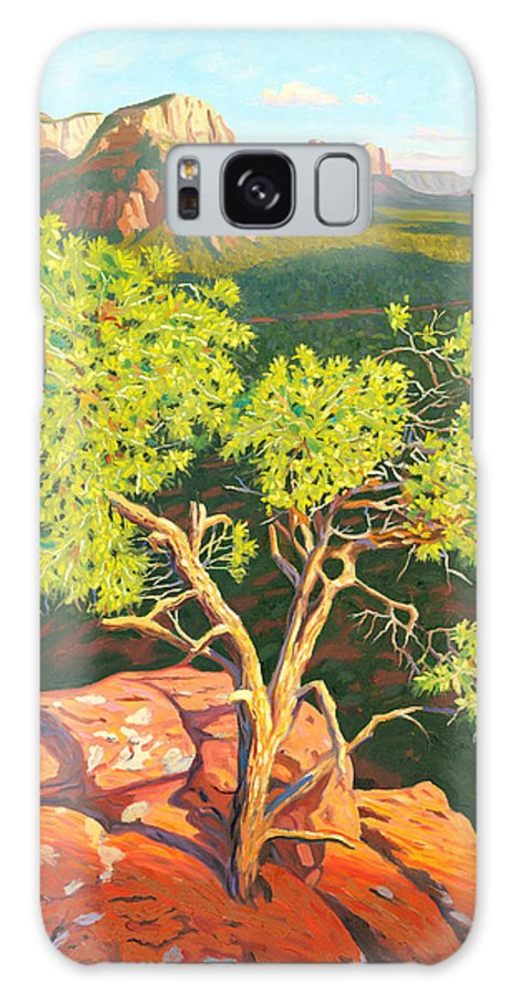 Pinion Pine Tree Galaxy Case featuring the painting Airport Mesa Vortex - Sedona by Steve Simon