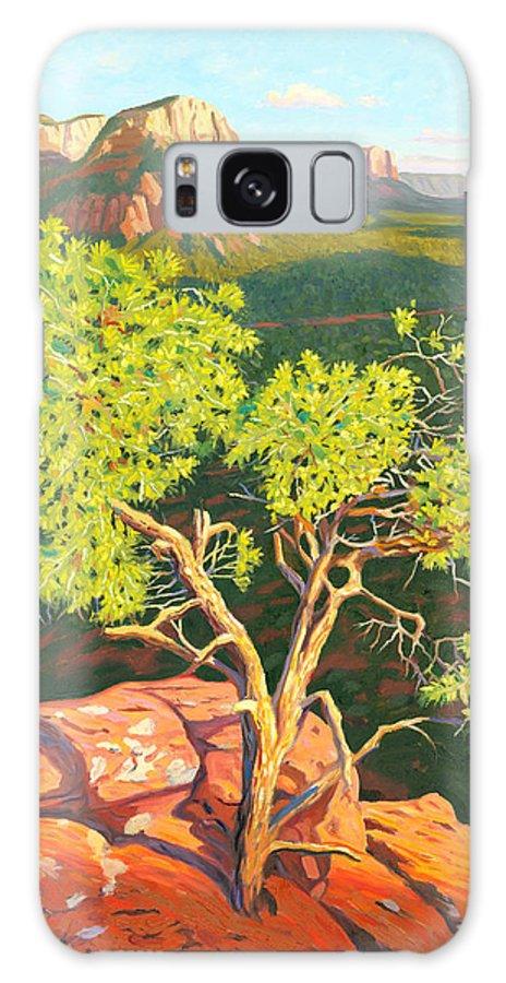 Pinion Pine Tree Galaxy S8 Case featuring the painting Airport Mesa Vortex - Sedona by Steve Simon