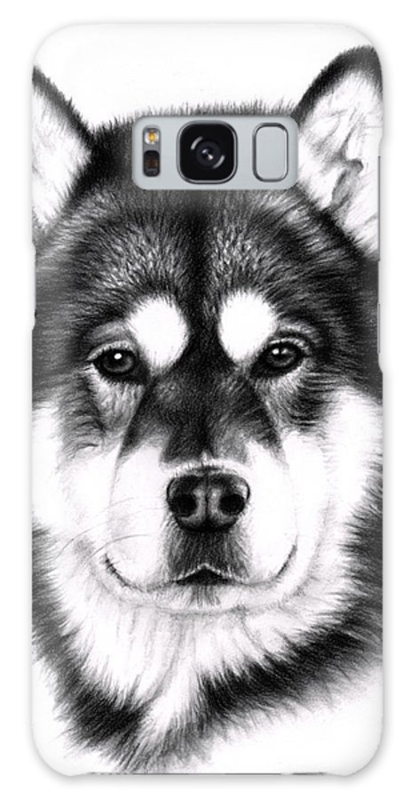 Dog Galaxy S8 Case featuring the drawing Alaskan Malamute Portrait by Nicole Zeug